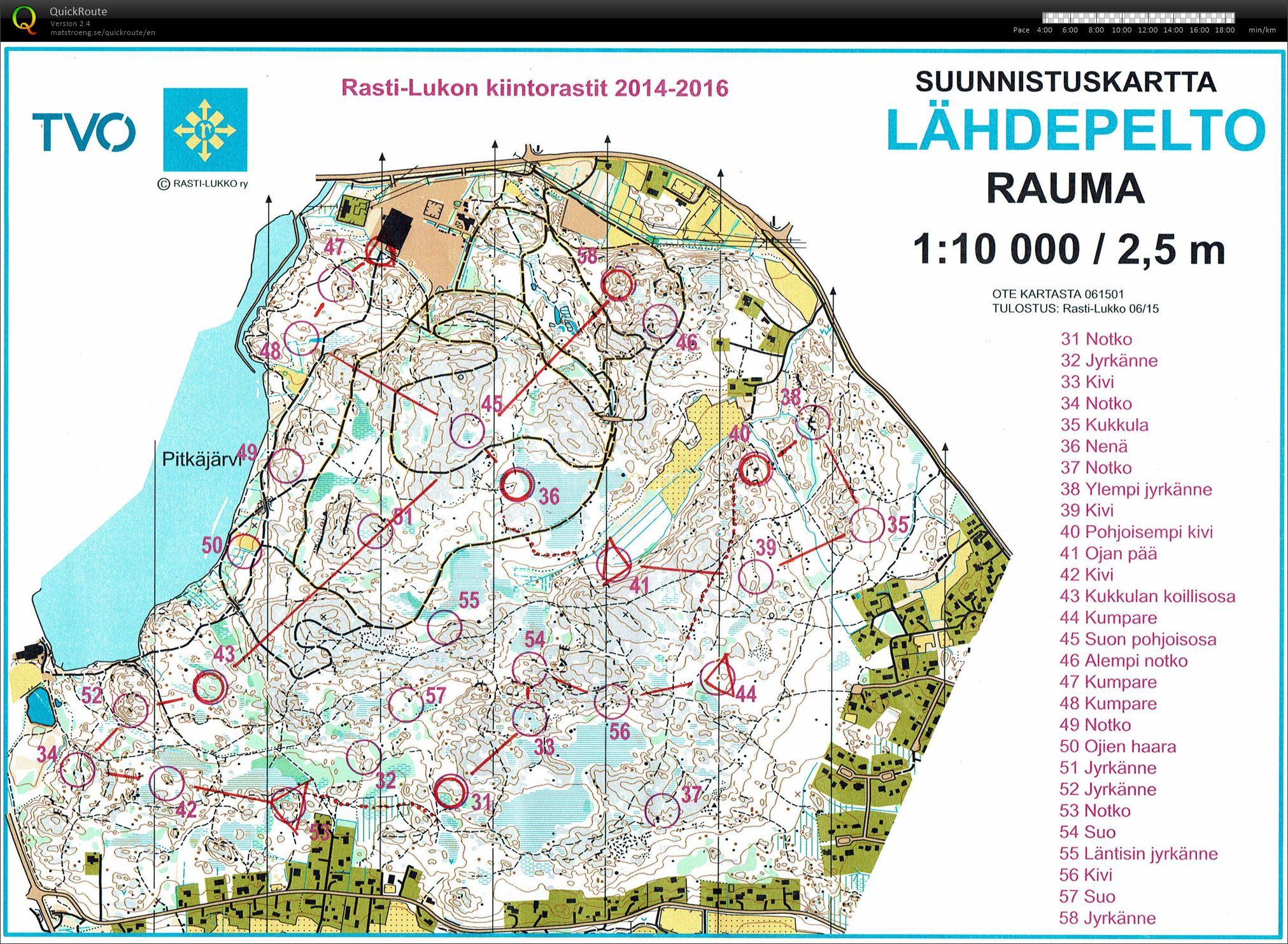 Training Rauma June 9th 2015 Orienteering Map from Markus Plohn