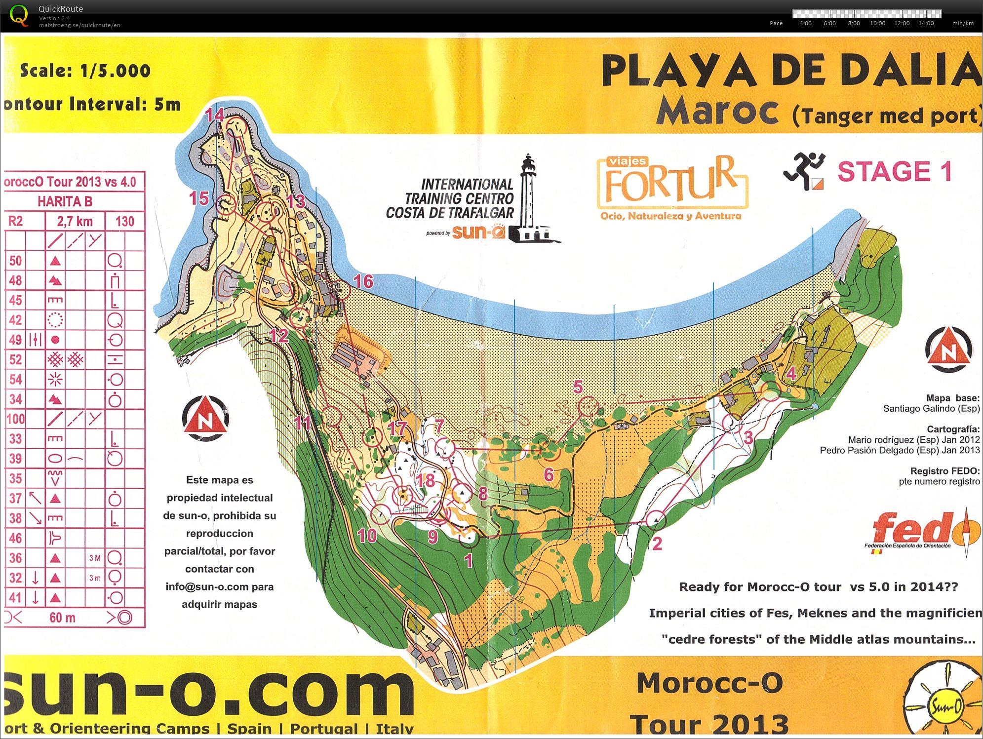 Playa de Dalia - orienteerin map - tanger - Morocco
